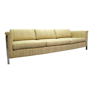Mid-Century Danish Modern Milo Baughman Style Desiener Chrome Frame Sofa For Sale