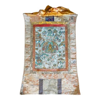 Early 20th Century Tibetan Thangka Painting on Silk Depicting the Life of Buddha For Sale