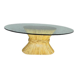 Vintage McGuire Oval Rattan Dining Table Sheaf-Of-Wheat Style With Glass Top For Sale