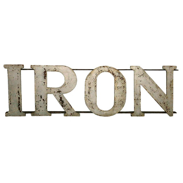 "20th Century Industrial ""IRON"" Letters Sign For Sale - Image 4 of 4"