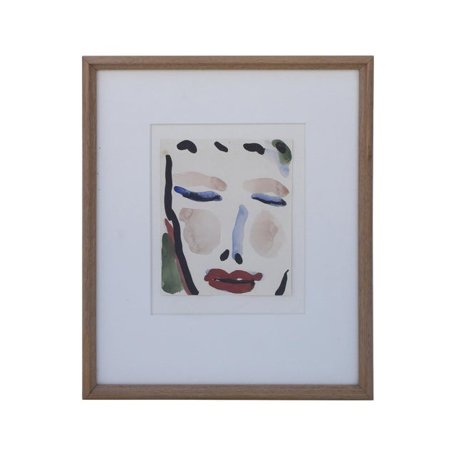 Gestural Watercolor of a Female Face For Sale