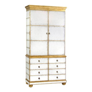 Eglomise and Gold Leaf Cabinet For Sale