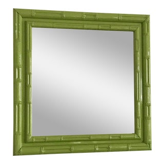 Larson Juhl Apple Green Faux Bamboo Square Wall Hanging Vintage Mirror