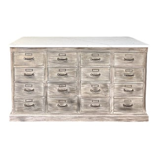 Antique Rustic Marble Top Store Counter For Sale