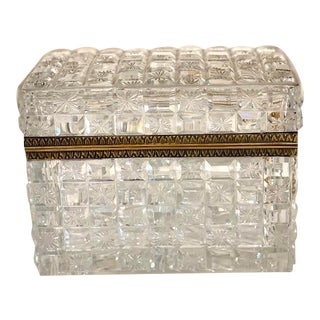 Vintage Cut Glass Hinged Box For Sale