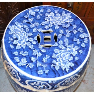 Chinoiserie Blue and White Porcelain Garden Stool With Mums Preview