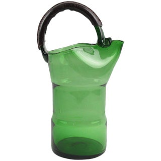 1960s Italian Mouth-Blown Glass With Hand-Stitched Leather Handle Barware Pitcher