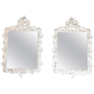Pair of Sea Shell Iron Mirror For Sale