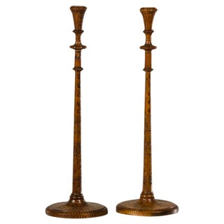 19th Century English Carved Poker Work Tall Slender Candlesticks - a Pair For Sale