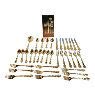 "Community ""Golden Modern Baroque"" Gold Wash Flatware - Set of 36 For Sale"