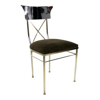 Set of Four Polished Nickel & Brass Regency Style Dining Chairs For Sale