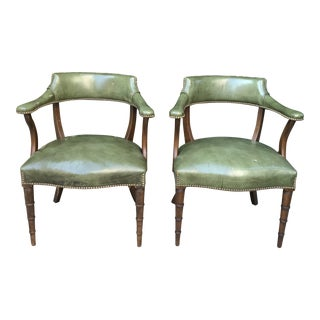 20th Century English Traditional Green Leather Chairs - a Pair