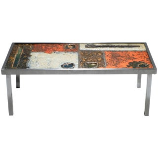 Robert and Jean Cloutier Ceramic Coffee Table, 1950s For Sale