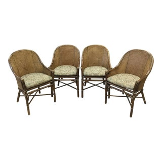 Vintage McGuire Cane Dining Chairs With Removable Cushions - Set of 4 For Sale