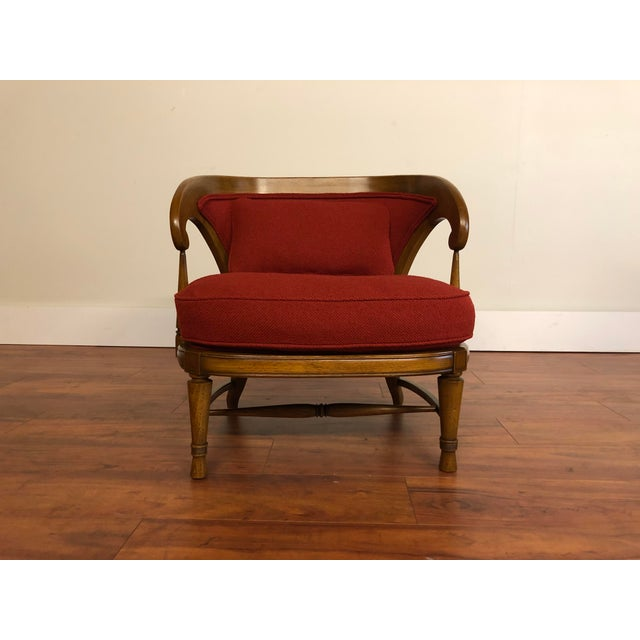 Petite vintage occasional chair, newly reupholstered in a red textured fabric with matching pillow. This chair is from the...