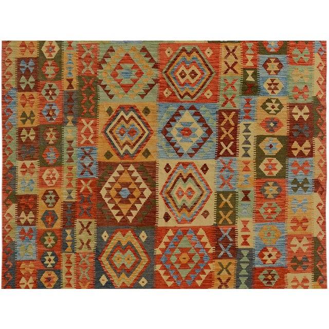 Arya Darwin Gray/Rust Wool Kilim Rug - 6'6 X 9'8 A9296 For Sale - Image 4 of 7