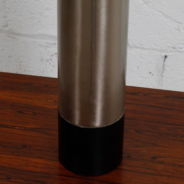 Mid-Century Modern Lamp With a Brushed Chrome Cylinder - Image 4 of 5