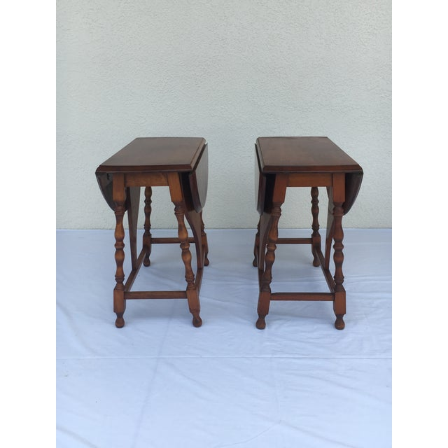 Early 20th Century Small Miniature Drop Leaf Side Tables- a Pair Early 20th Century Vintage For Sale - Image 5 of 13