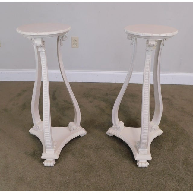 Hollywood Regency Hollywood Regency Vintage Pair White Washed Lacquer Italian Pedestals For Sale - Image 3 of 12
