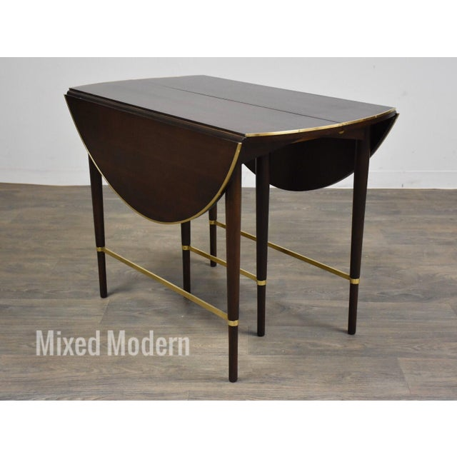 Modern Paul McCobb Mahogany and Brass Dining Table For Sale - Image 3 of 13