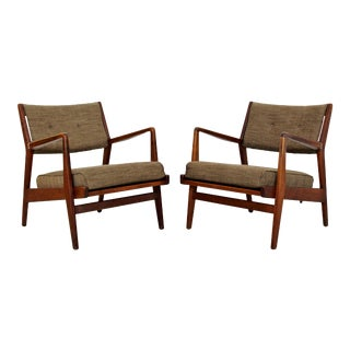 Mid Century Modern Jens Risom Pair of Walnut Lounge Armchairs- A Pair For Sale
