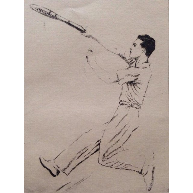 1930's Tennis Etchings Helen Moody Wills - A Pair For Sale - Image 5 of 6