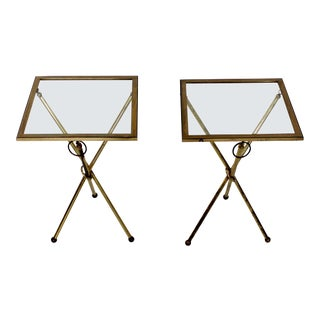 Mid-Century Modern Italian Lacca Era Brass Glass Folding Side Tables - a Pair For Sale