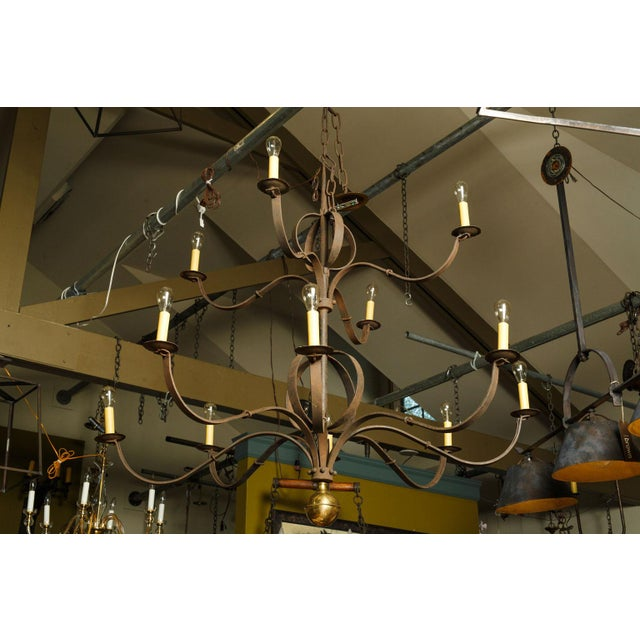 Monumental Two-Tier Forged Iron Chandelier For Sale - Image 10 of 10