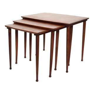 Mid Century Danish Modern Mobelintarsia Set of Teak Nesting Tables For Sale