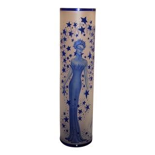 """2004 Erte """"Starstruck"""" Hand Carved Glass Vase For Sale"""