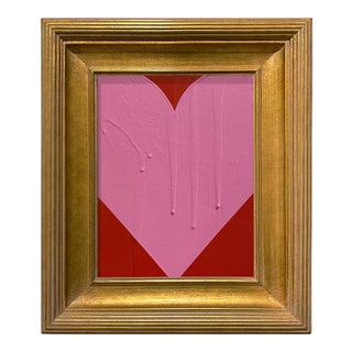 Ron Giusti Mini Heart Red and Pink Acrylic Painting, Framed For Sale