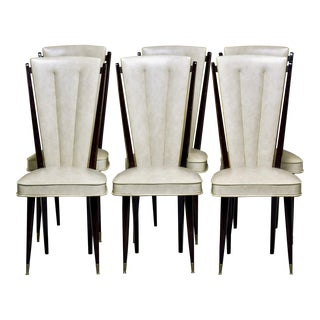 Mid Century French Macassar Dining Chairs in Original Vinyl, Set of Six For Sale