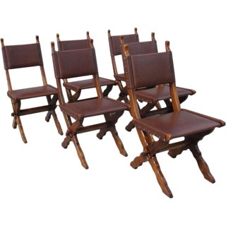 French Antique Rustic Leather Dining Chairs - Set of 6