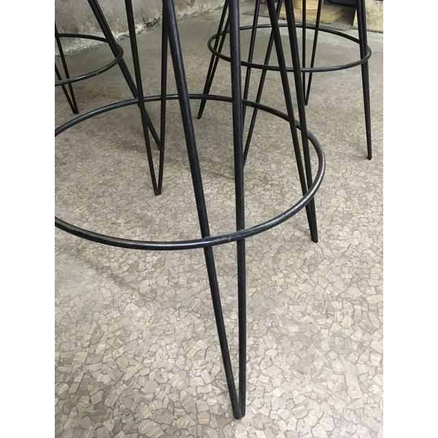 Mid Century Iron Bar Stools - Set of 3 For Sale - Image 9 of 10