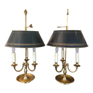 Early 20th Century Antique Gilt Bronze Bouillotte Lamps - a Pair For Sale