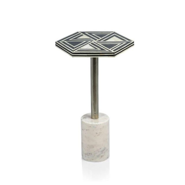 Art Deco Kenneth Ludwig Sultana Hexagon Bone & Marble Drinks Table For Sale - Image 3 of 3
