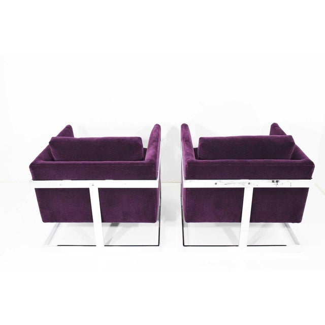 Bauhaus Milo Baughman T-Back Cube Chairs in Maharam Mohair - a Pair For Sale - Image 3 of 13