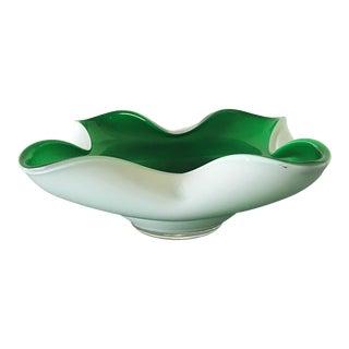 Green & White Murano Glass Dish