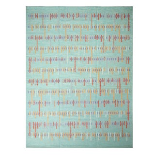 Rug & Kilim's Scandinavian-Inspired Seafoam Blue and Red Wool Kilim Rug-9'4'x12' For Sale