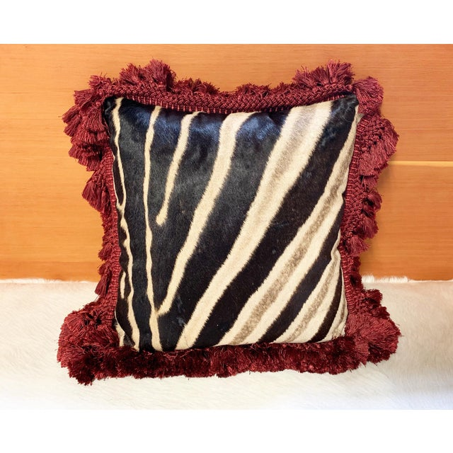"""Modern One of a Kind Zebra Pillow, 19"""" For Sale - Image 3 of 6"""