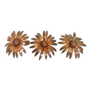 Folk Art Handmade Copper Flowers - Set of 3 For Sale