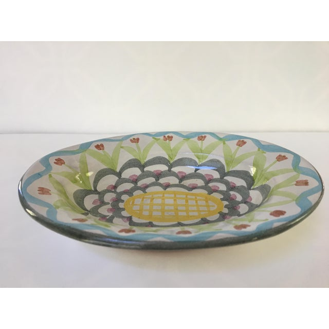 Vintage MacKenzie-Childs Hand Painted Dish / Catchall in King Ferry Pattern For Sale - Image 4 of 11