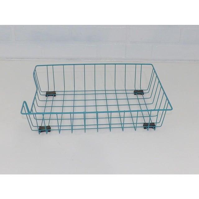 Teal Aqua Blue Mid-Century Modern Metal Wire File Basket or Magazine Rack For Sale In Sacramento - Image 6 of 7