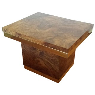 Pierre Cardin-Style Burled Wood Side Table