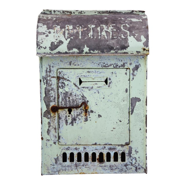 Vintage 1950s Wall Mounted Postal Mailbox w/ Chippy Paint