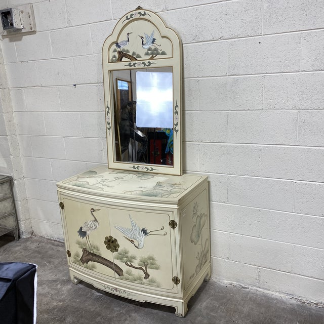 Asian Hand Painted Asian Style Chest With Matching Mirror For Sale - Image 3 of 12