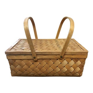 Vintage Wood Picnic Basket For Sale