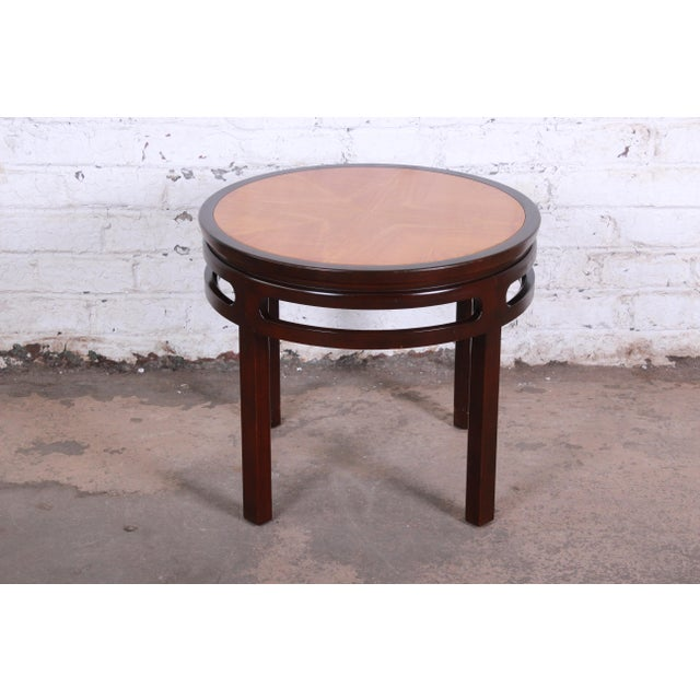 Baker Furniture Company Michael Taylor for Baker Furniture Chinoiserie Teak and Mahogany Side Table For Sale - Image 4 of 8