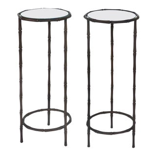 1950s Petite Bronze Faux Bamboo Drinks Side Tables by Maison Jansen