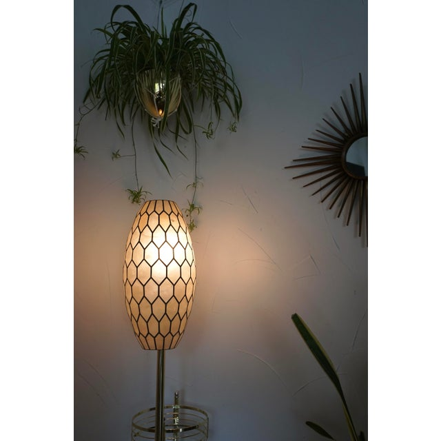 Large Vintage Bohemian Glam Capiz Shell Lampshade   Mid-Century Bullet Shape Lamp Shade   Chic Statement Lighting For Sale - Image 11 of 13